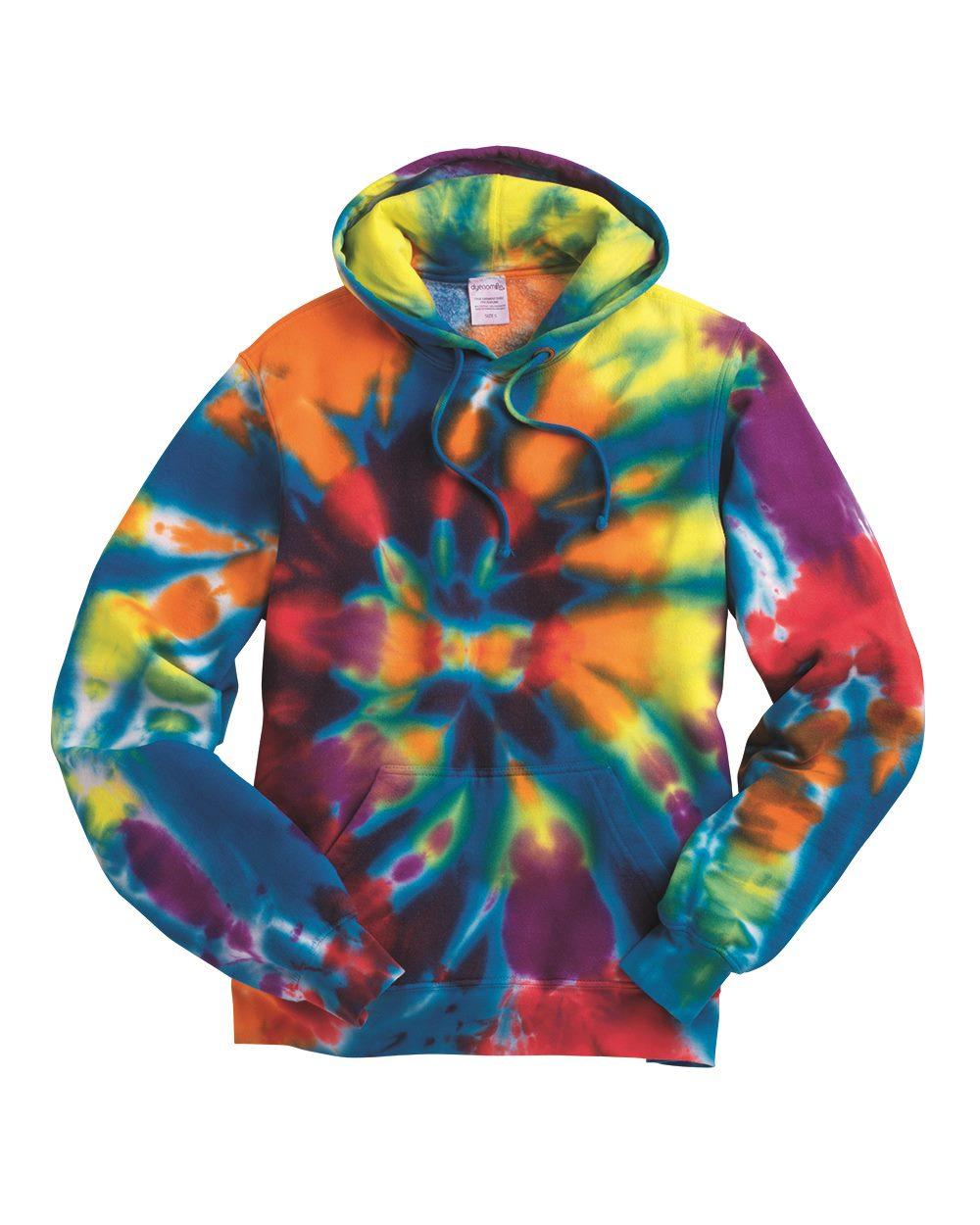 Tie-Dyed 854TD-Rainbow Multi-Color Cut-Spiral Hooded Sweatshirt
