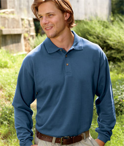 8532 UltraClub Adult Long-Sleeve Classic Pique Polo