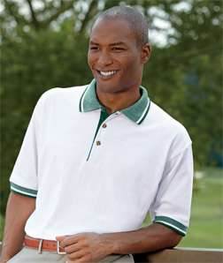 8536 UltraClub Adult White-Body Classic Pique Polo with Contrasting Multi-Stripe Trim