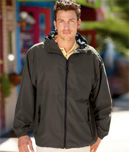 UltraClub 8908-Adult Microfiber Hooded Zip-Front Jacket
