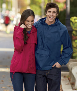 UltraClub 8925-Adult 1/4-Zip Hooded Pullover Pack-Away Jacket