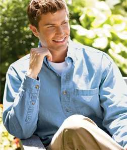 8960T UltraClub Men's Long-Sleeve Cypress Denim with Pocket