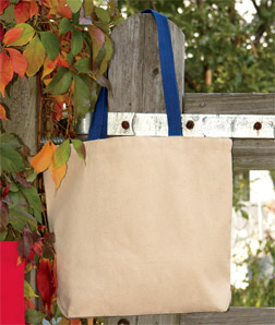 UltraClub 9868-Recycled Cotton Canvas Tote With Contrasting Handles