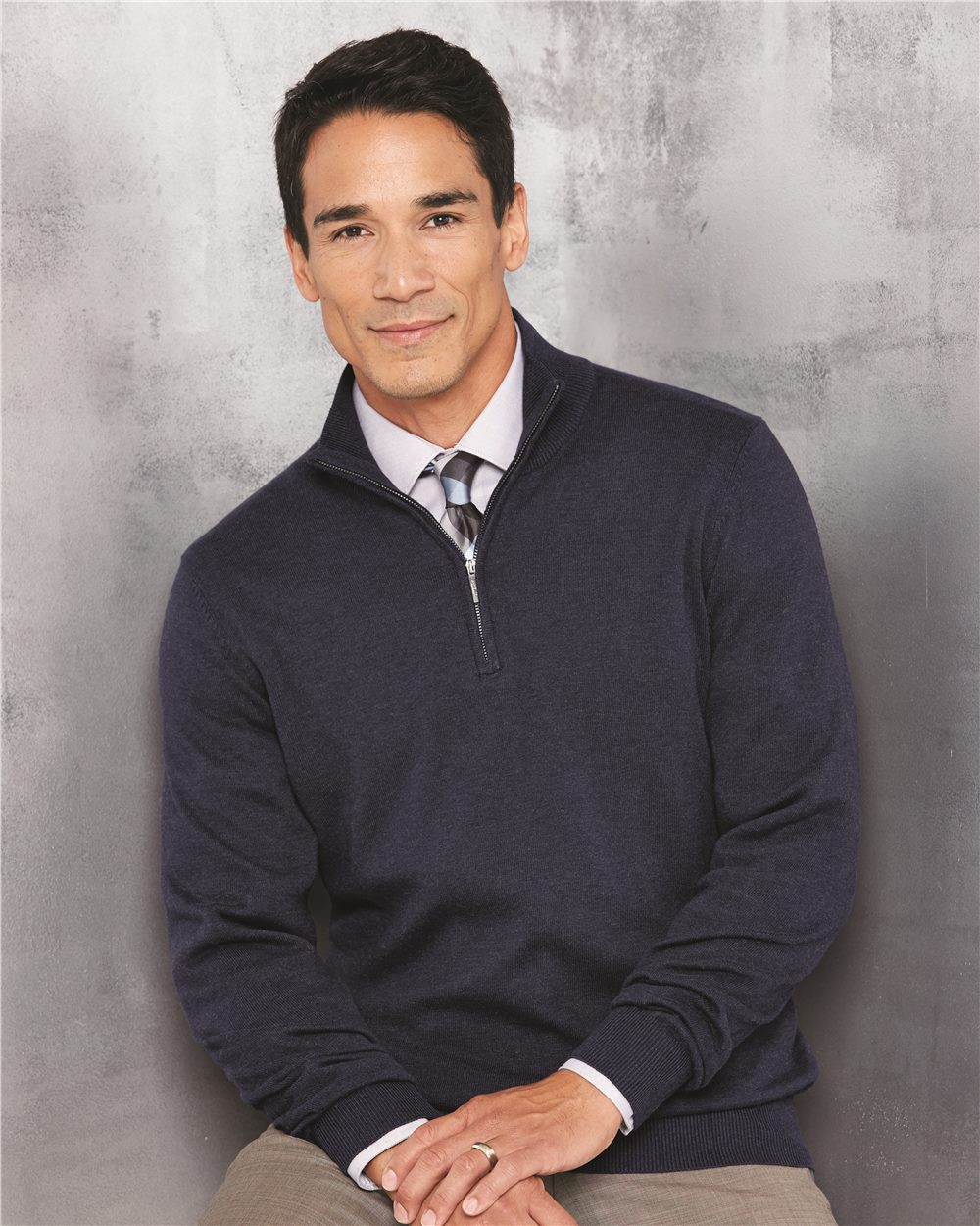 Van Heusen 13VS005 - Quarter Zip Sweater